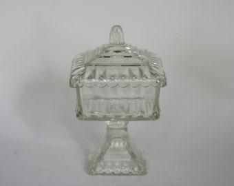 vintage glass wedding box candy dish