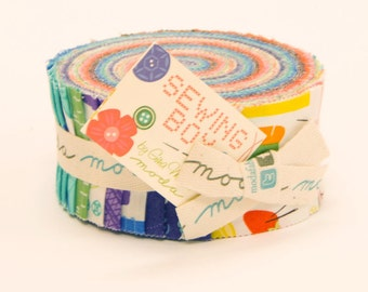 Sewing Box by Gina Martin for Moda ~ 100% Cotton ~  40 Strip Jelly Roll