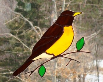 Robin - Large Stained Glass Bird Suncatcher 3316