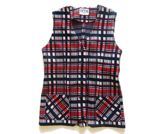 Vintage plaid polyester vest