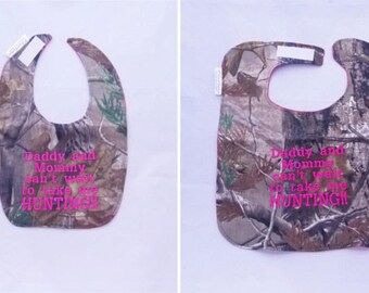 Daddy and Mommy Cant Wait To Take Me Hunting - Small OR Large Baby Bib - hot pink - FREE Shipping to U.S.