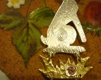 Watchful Hare pendant, Sterling Silver, by Squarehare, UK, vegan, free Shipping, pagan celtic druids, OOAK origonal, rabbit jewellery bridal