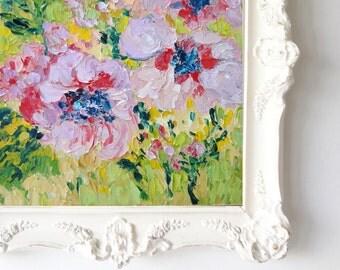 Three Purple Flowers Original Oil Painting, Impasto Painting, Palette Knife Painting, Floral Oil Painting, 8x10