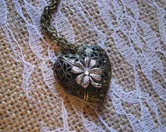 Shamrock Filigree Heart Locket Necklace Two Tone