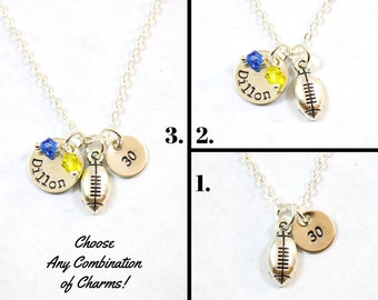 Football Necklace - Football Jewelry - Sports Gift - Sports Team - Personalized Sports Necklace - Football Mom Necklace - NFL Football Charm