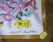 Designer GUCCI Italy Silk Scarf w/Vibrant & Colorful Floral Bouquets Signed