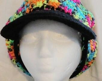 Crocheted Newsboys Hat Rainbow Mix and Black Teen or Ladies