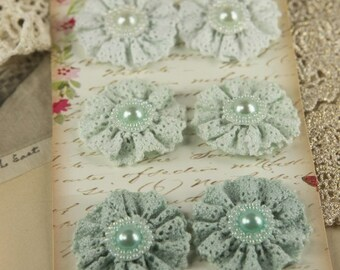 Classic Lace Collection - Appencell 547028 - Crochet cotton lace flowers with pearl centers sea foam green light blue green