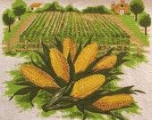 Vintage Kitchen Hand Towel - Corn - Unused
