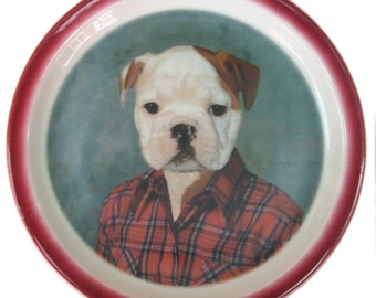 Buddy the Bulldog Portrait Plate - Altered Vintage Plate 9.6""