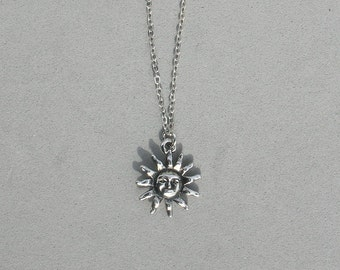 Rhodium Sun Necklace  Choice of Silver Chain or Black Leather