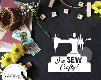 Sewing Machine Vinyl Decal, Crafting Decal, Crafter Decal, Funny, Crafty Girl, Laptop Decal, Car Window Decal, ipad Decals, SoCalCrafty