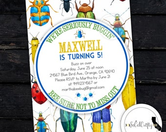 Bug Birthday Party Invitation, Camping Invite, Spider, Outdoor, Nature, Science, Bugs, DIY, Printed or Printable Invitations, Free Shipping
