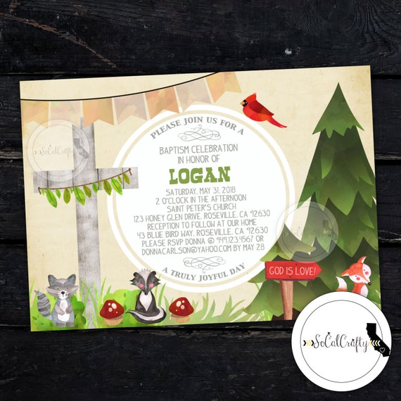 Baptism Invitation, Woodland Invitation, Fox, Christening, Church, Animal, Easter Invite, Printed or Printable Invitations, Free Shipping