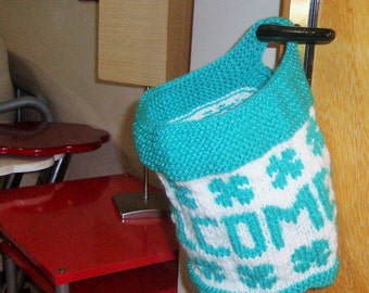Welcome mail organizer Personalized New Home Gift Door Hanger, Lucky Door Basket, Hand Knit Door Basket, Hostess Gift