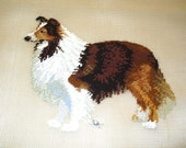 Beautiful Rough Collie Preworked Needlepoint Canvas, Fiber Art