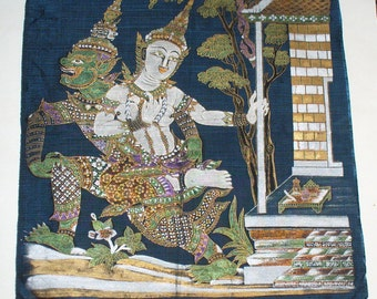 Buddhist Thanka, Religious Relic, Painted with Gold Details 17.5 x 21 1/4 inches. Guardian Yaksha
