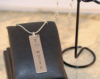 Metal Stamped Necklace. Metal Stamp Necklace. Metal Pendant. Necklace and Earrings. Handmade