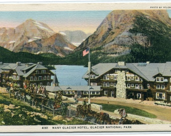 Many Glacier Hotel Glacier National Park Montana linen postcard