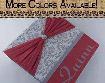 Wedding Photo Album Coral and Gray Damask - Bridal Shower Gift - personalized and custom -4x6 5x7 picture album