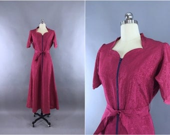 Vintage 1930s Hostess Dress / 1940s Saybury Dressing Gown / Raspberry Pink Rayon Moire / 30s 40s