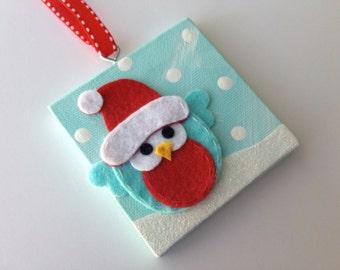 Felt owl Canvas Christmas ornament - personalized free!