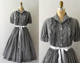 1950s Vintage Dress Set - 50s Black Gingham Skirt and Blouse Set
