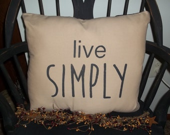 UNSTUFFED Primitive Pillow COVER Live Simply 17 x 15 Inch Country Home Decor Rustic Live Simply Cushion Black & Tan Farmhouse wvluckygirl