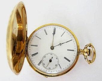 Antique 18K Solid Gold Swiss Pocket Watch S 12,Hunter Case +Key  , Sev'd &  Run