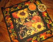 Pumpkins and Sunflowers Quilted Table Topper, Autumn Decor, Fall Table Topper, Thanksgiving Topper, Fall Table Decor, Tahoe Quilts Handmade