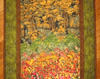 Fall Trees Art Quilt Wall Hanging, Fabric Wall Hanging, Fall Flowers Red Gold, Fall Meadows Trees, Landscape Art Quilt, Vertical Wall Art