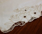 Linen Runner, Bronze Embroidered Table Runner, Mantel Scarf, Machine Embroidery 13303
