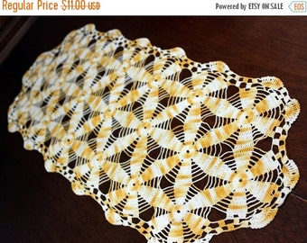 22 Inch Crochet Runner in Variegated Oranges - Hand Crocheted 12037