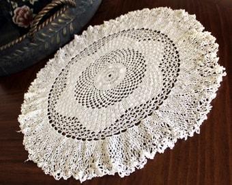 Large Vintage Doily, Crochet Centerpiece, Hand Crocheted, Fluted Border Doilies, White Doilies 13159