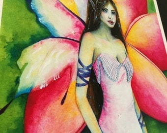 Fine art print, fairy painting, Frangipani Faerie, kim turner art, australian artist, lowbrow, fairy art, fairy pictures, pink, lowbrow art