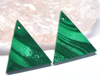 Malachite Earring Bead, Untreated Natural Gemstone, Flat Triangle Pair, Cut in Montreal AAA - 22.0 x 21.0 x 3.1 mm - 26.7 ct - 160819-06
