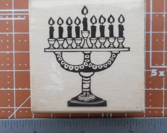 Menorah Rubber Stamp    Chanukah  stamp