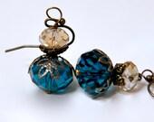 Teal Blue Earrings, Light Topaz Earrings, Antique Brass Filigree, Peacock Earrings, Champagne Crystal Bead Earrings, Bridesmaid Jewelry Gift