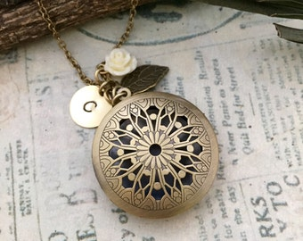 Ornate Locket Necklace, Initial Necklace, Best friend Gift, Best friend Necklace, Gift Ideas, Handmade Necklace, Bridesmaid Gift