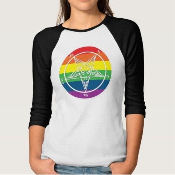 Rainbow Pride Baphomet Pentagram Raglan Tee