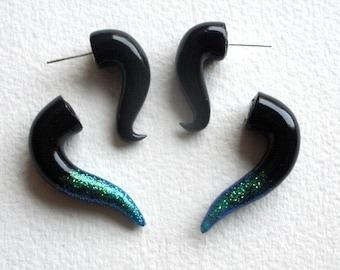 Black Glitter Tipped  Fake Gauge Earring-