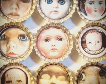 SPECIAL-Lot of Six Baby Doll Bottle Cap Magnets
