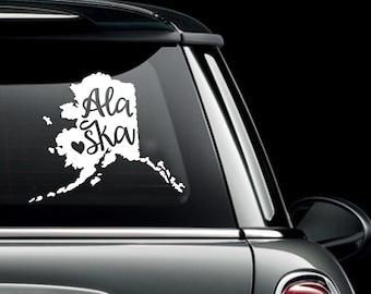 Alaska State with Heart Car Decal - Alaska Love Heart State Car Decal -State Vinyl car window bumper decal