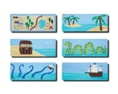 Hand Painted Handle - Children's Custom Hand Painted Pirate Theme Cabinet Drawer Handle Pull for Kids in ANY Size