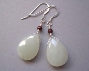 Jade and Garnet Earrings, Sterling Silver Earrings, Yellow Stone Earrings, Teardrops, Wire Wrapped, Modern Gemstone Earrings