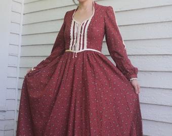 Gunne Sax Dress Red Floral Prairie Full Length Maxi Corset Vintage 70s 7