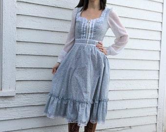 Gunne Sax Dress Blue Floral Print XS 7 Prairie Summer Midi Vintage 70s