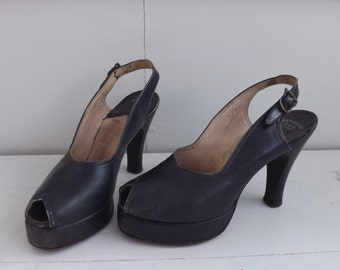 40s Palter DeLiso Platform Heels Peeptoe Slingback 6 A Shoes Vintage 1940s