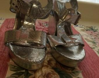 1990's Silver Platform Shoes