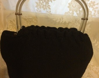 Stunning Crochet Lucite Handle Purse